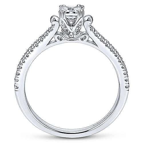 Morris 14k White Gold Princess Cut Straight Engagement Ring angle 2