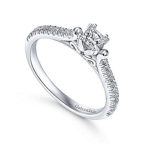 Morris 14k White Gold Princess Cut Straight Engagement Ring angle 3