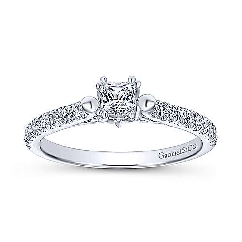 Morris 14k White Gold Princess Cut Straight Engagement Ring angle 5
