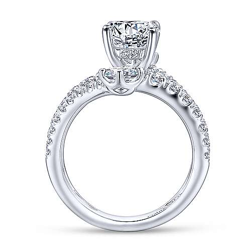 Mosaic 18k White Gold Round Split Shank Engagement Ring angle 2