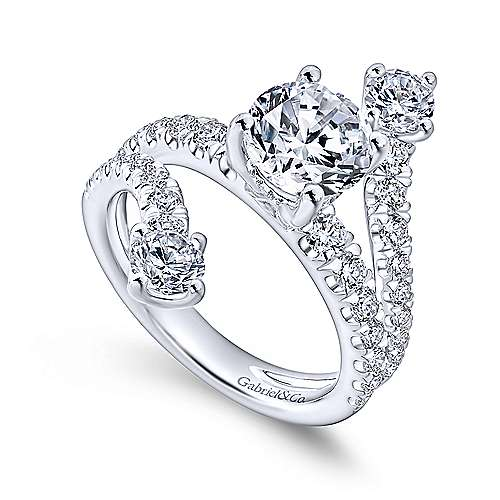 Mosaic 18k White Gold Round Split Shank Engagement Ring angle 3