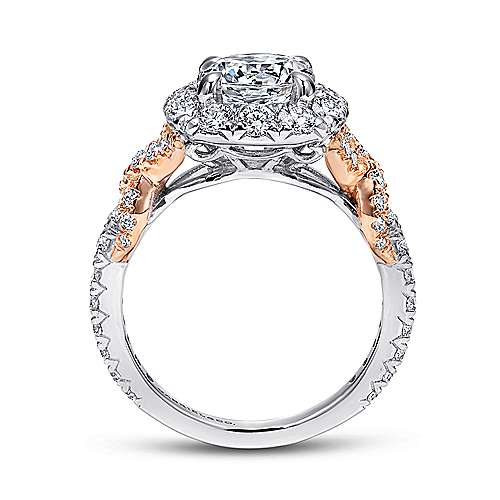 Mott 18k White And Rose Gold Round Halo Engagement Ring