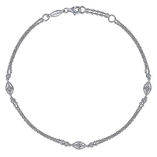 Multi Row 925 Sterling Silver Chain Ankle Bracelet with White Sapphire Marquise Stations