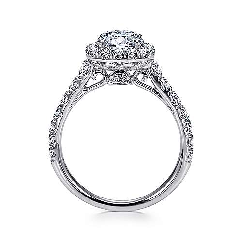 Mykonos 18k White Gold Round Halo Engagement Ring angle 2