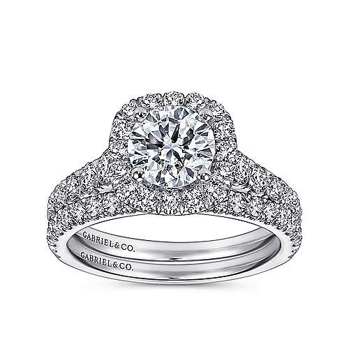 Mykonos 18k White Gold Round Halo Engagement Ring angle 4