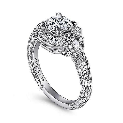 Myrna 14k White Gold Round Halo Engagement Ring