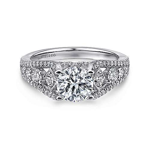 Gabriel - Myrtle 14k White Gold Round Straight Engagement Ring