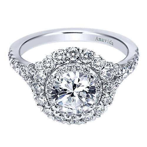 Mystery 18k White Gold Round Double Halo Engagement Ring angle 1