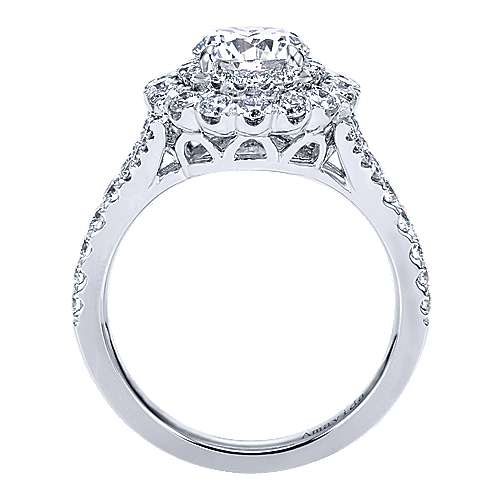 Mystery 18k White Gold Round Double Halo Engagement Ring angle 2