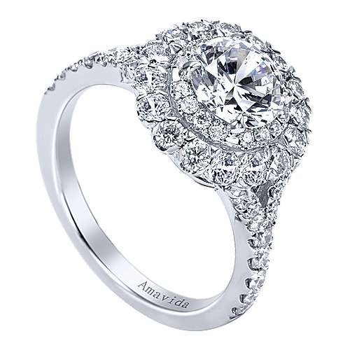 Mystery 18k White Gold Round Double Halo Engagement Ring angle 3