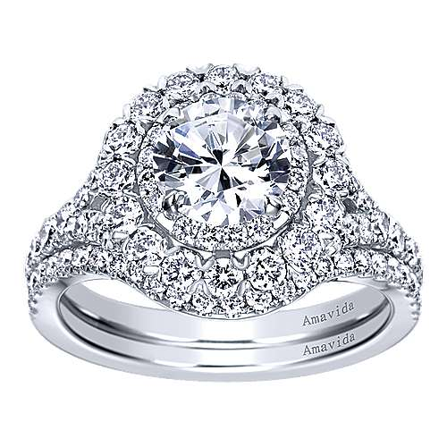 Mystery 18k White Gold Round Double Halo Engagement Ring angle 4