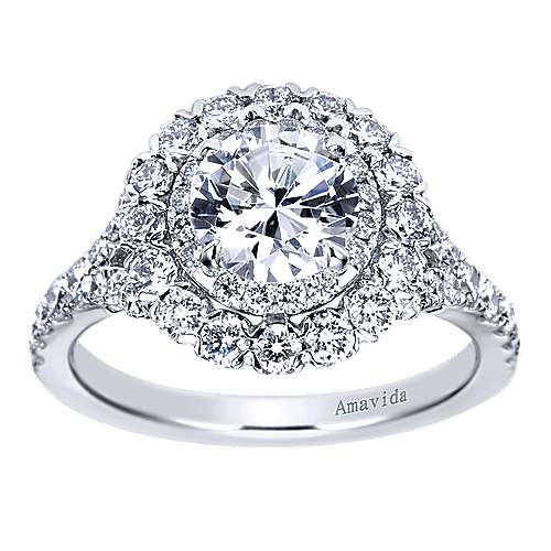Mystery 18k White Gold Round Double Halo Engagement Ring angle 5