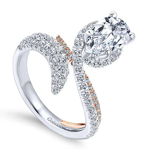 Mystic 18k White And Rose Gold Pear Shape Halo Engagement Ring angle 3