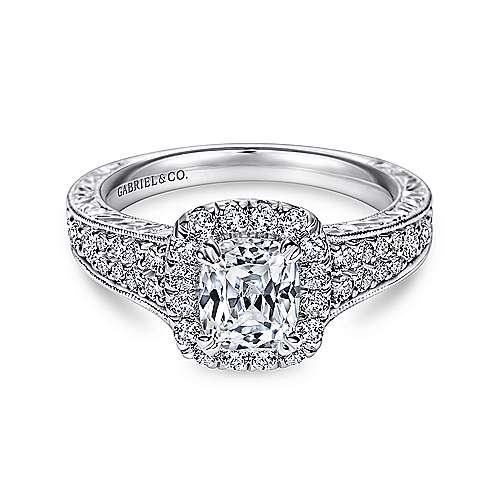 Gabriel - Nadine 14k White Gold Cushion Cut Halo Engagement Ring