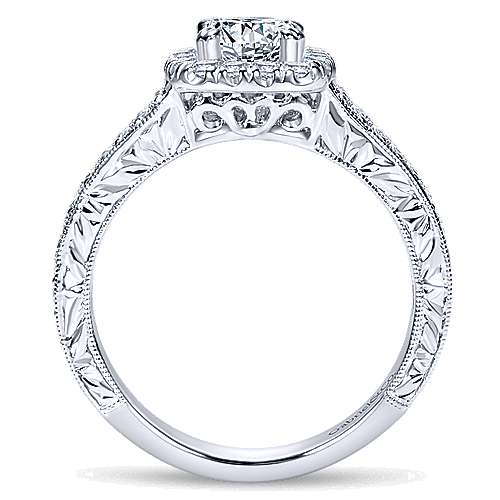 Nadine 14k White Gold Cushion Cut Halo Engagement Ring angle 2