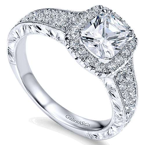 Nadine 14k White Gold Cushion Cut Halo Engagement Ring angle 3