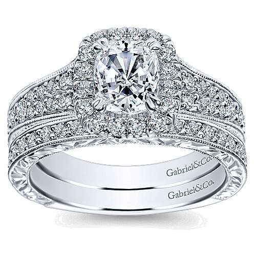 Nadine 14k White Gold Cushion Cut Halo Engagement Ring angle 4