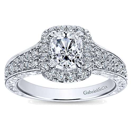 Nadine 14k White Gold Cushion Cut Halo Engagement Ring angle 5