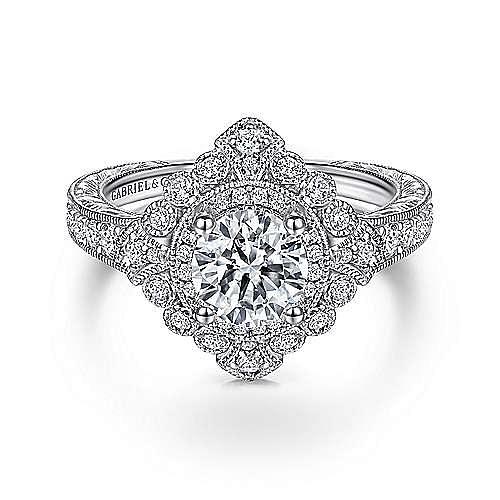 Gabriel - Nancy 14k White Gold Round Halo Engagement Ring
