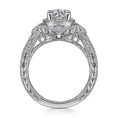 Nancy 14k White Gold Round Halo Engagement Ring
