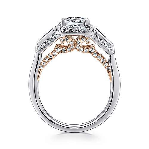 Nanette 14k White And Rose Gold Princess Cut 3 Stones Halo Engagement Ring angle 2