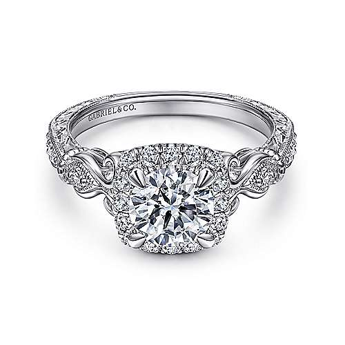 Gabriel - Nantes 18k White Gold Round Halo Engagement Ring