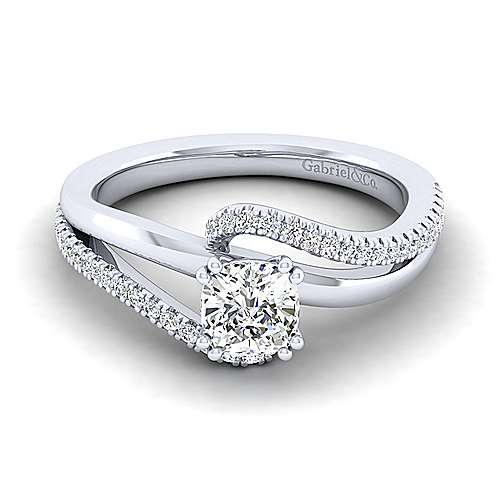 Naomi 14k White Gold Cushion Cut Bypass Engagement Ring angle 1