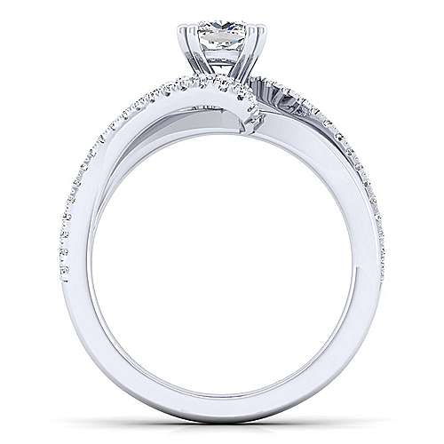 Naomi 14k White Gold Cushion Cut Bypass Engagement Ring angle 2
