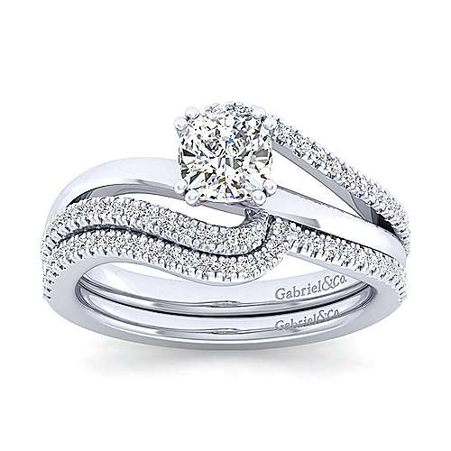 Naomi 14k White Gold Cushion Cut Bypass Engagement Ring angle 4