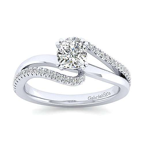 Naomi 14k White Gold Cushion Cut Bypass Engagement Ring angle 5