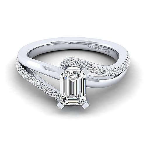 Gabriel - Naomi 14k White Gold Emerald Cut Bypass Engagement Ring