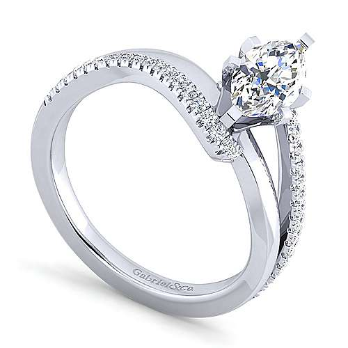Naomi 14k White Gold Marquise  Bypass Engagement Ring angle 3