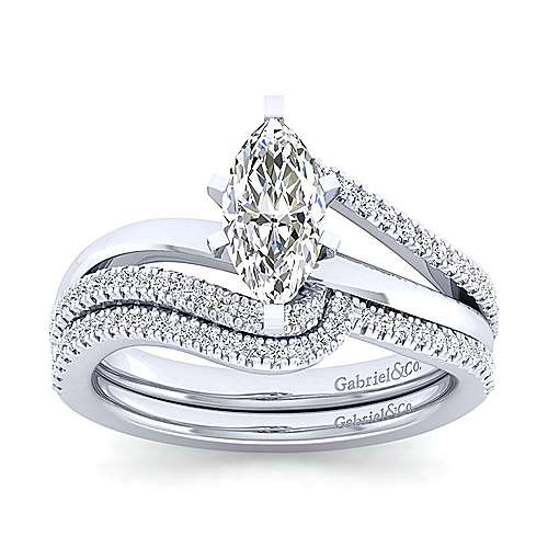 Naomi 14k White Gold Marquise  Bypass Engagement Ring angle 4