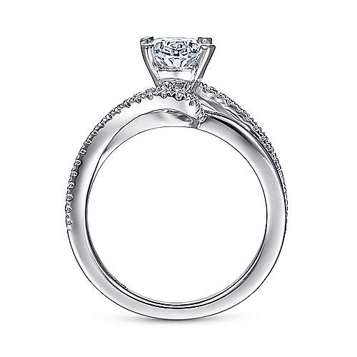 Naomi 14k White Gold Oval Bypass Engagement Ring angle 2