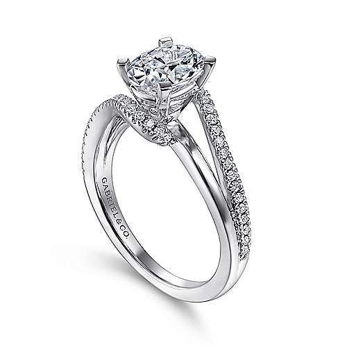Naomi 14k White Gold Oval Bypass Engagement Ring angle 3