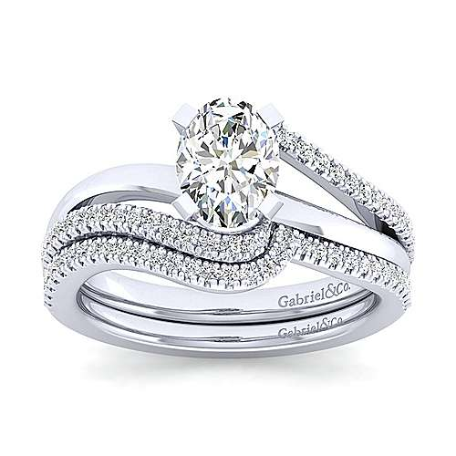 Naomi 14k White Gold Oval Bypass Engagement Ring angle 4