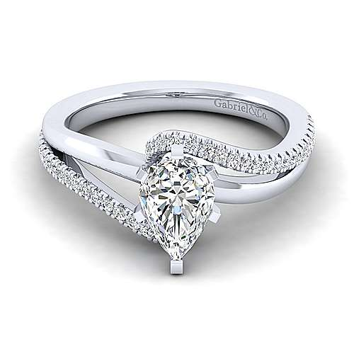 Gabriel - Naomi 14k White Gold Pear Shape Bypass Engagement Ring