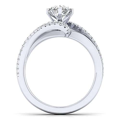 Naomi 14k White Gold Pear Shape Bypass Engagement Ring angle 2