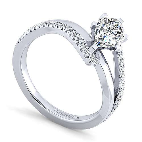Naomi 14k White Gold Pear Shape Bypass Engagement Ring angle 3