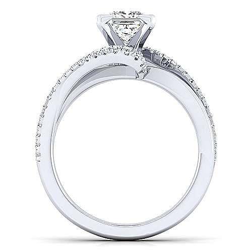 Naomi 14k White Gold Princess Cut Bypass Engagement Ring angle 2