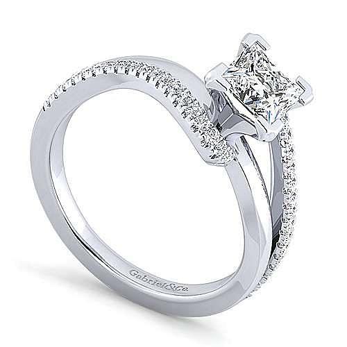 Naomi 14k White Gold Princess Cut Bypass Engagement Ring angle 3