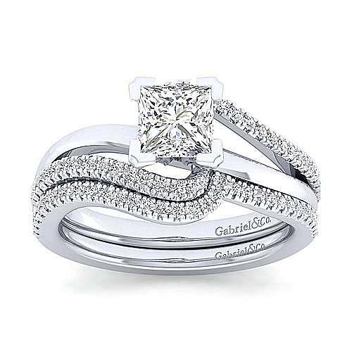 Naomi 14k White Gold Princess Cut Bypass Engagement Ring angle 4