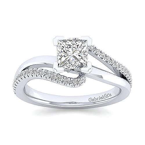 Naomi 14k White Gold Princess Cut Bypass Engagement Ring angle 5