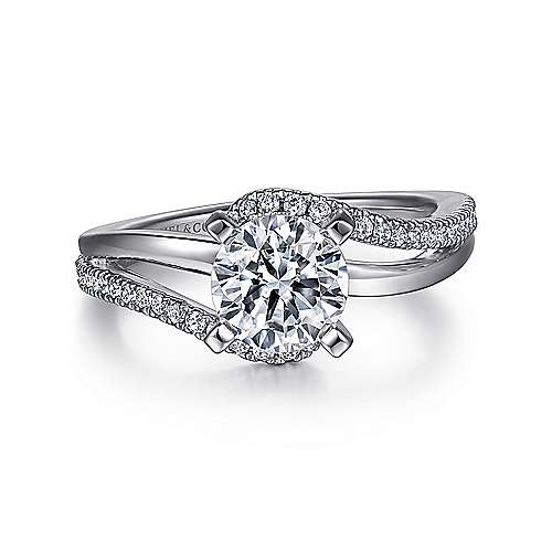 Naomi 14k White Gold Round Bypass Engagement Ring angle 1