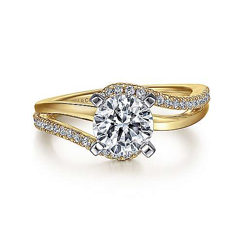 Gabriel - Naomi 14k Yellow And White Gold Round Bypass Engagement Ring