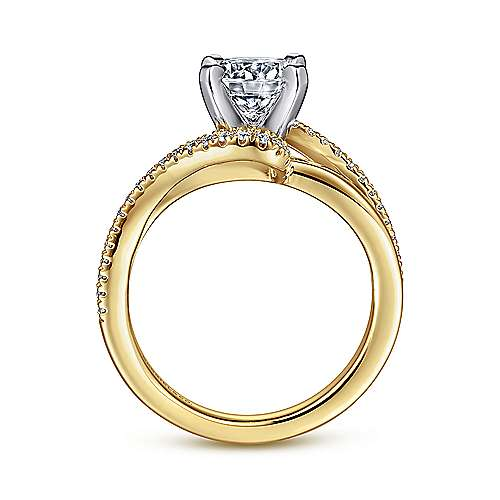 Naomi 14k Yellow And White Gold Round Bypass Engagement Ring angle 2