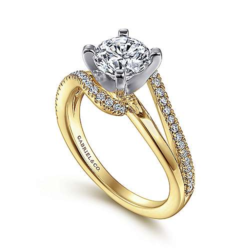 Naomi 14k Yellow And White Gold Round Bypass Engagement Ring angle 3