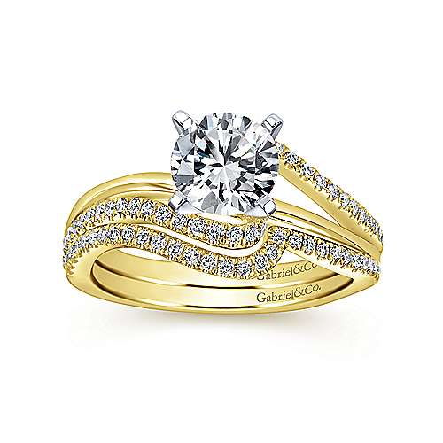 Naomi 14k Yellow And White Gold Round Bypass Engagement Ring angle 4