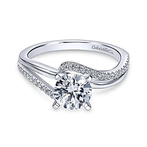 Gabriel - Naomi 18k White Gold Round Bypass Engagement Ring