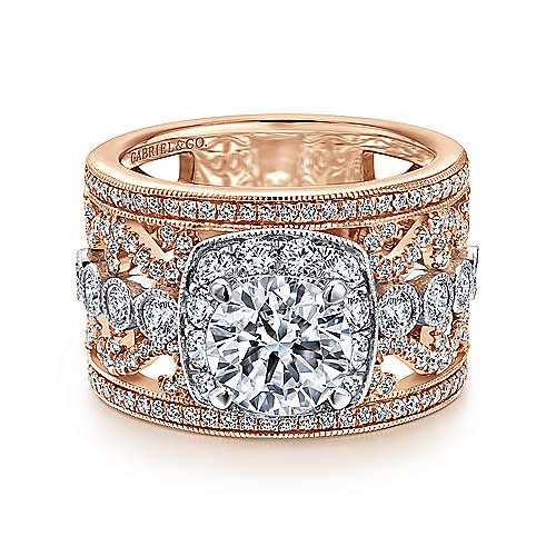 Napa 18k White And Rose Gold Round Halo Engagement Ring angle 1